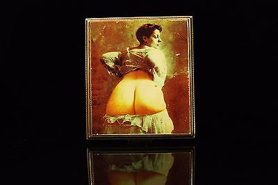 Antique Original Perfect Silver Naked Lady Decorated Hand Painted Cigarette Case