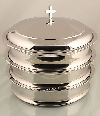 Communion Tray Set of 3 with 1 lid - Mirror Finish - Communion Ware