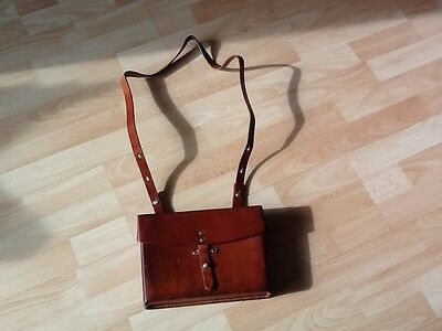 Vintage Handbag / Shoulderbag, old, Leather, Swiss Army Officer Bag, 1970