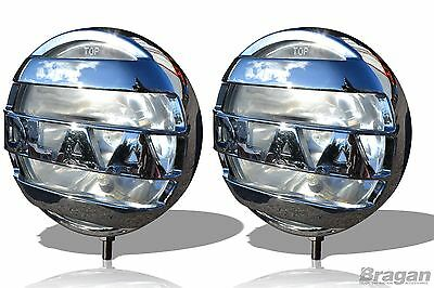 "To Fit Scania Volvo MAN DAF Mercedes 24v 8"" Spot Chrome Round Fog Lights Lamp x2"
