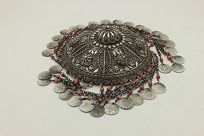 Antique Original Silver Coral Decorated Ottoman Anatolian Bridal Head Piece