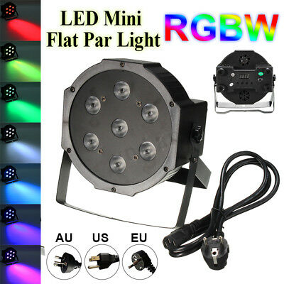 84W RGBW 4 IN 1 7 LED Lighting Flat Par Club Bar DJ Stage Party Wedding Light
