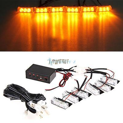 12V 6 Car Amber LED Flashing Grill Lights Bar Strobes Warning Recovery Breakdown