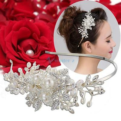 Vintage Alloy Bridal Wedding Crystal Pearl Hair Band Tiara Rhinestone Headband