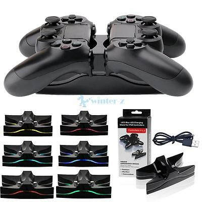 LED Dual Charger Station Charging Stand Dock for PS4 Playstation 4 Controller