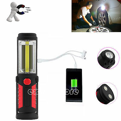 COB LED Inspection Work Light Rechargeable Flexible Hand Torch Lamp Magnetic AU