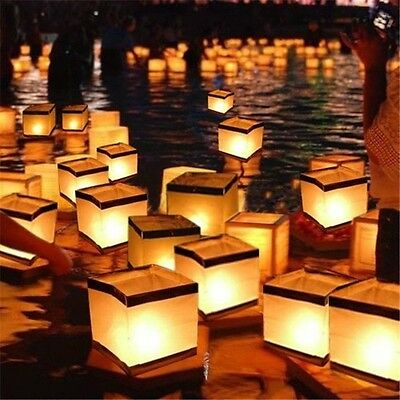Water Floating Lantern Wishing Candle Holder Light Square  Waterproof 10PCS