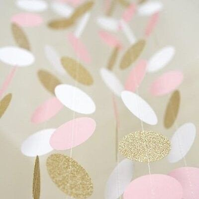 Gold Glitter Circle Dots Paper Garland 3M Party Home Wedding Decoration Banner
