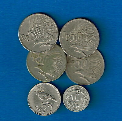 Indonesia 1971 Bulk Incl 10 R (small HTF coin)- Useful for Travellers/Collectors