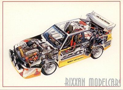 Audi Sport Quattro S1 Rally Transparent Picture Interior Postcard Card New