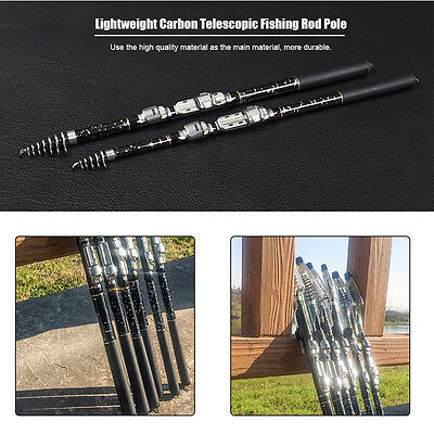 1.8/2.1/2.4/2.7/3.0/3.6M Lightweight Carbon Telescopic Fishing Rod Pole GD