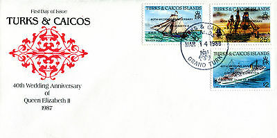 TURKS & CAICOS 1987/8 QUEEN 40th WEDDING ANNIVERSARY FIRST DAY COVER