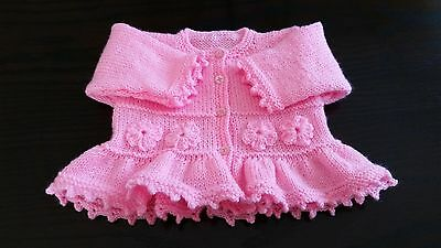 Baby girls  hand knitted cardigan 0 - 3 months PINK
