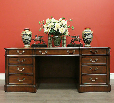 Vintage 7 Drawer Mahogany and Leather Top Twin Pedestal Office Writing Desk