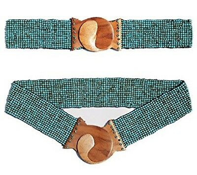 Hand-made Elastic Stretchy Beaded Belt Turquoise With Wooden Hook Buckle