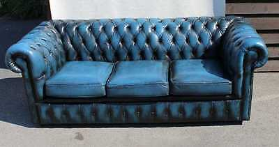Good Blue Chesterfield 3 seater Leather Fully Buttoned sofa