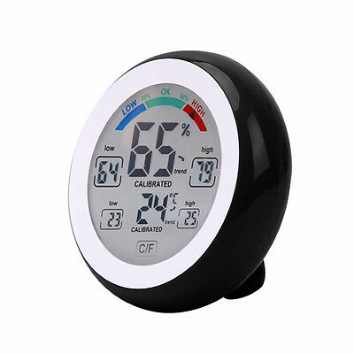 LCD Digital Display Indoor Thermometer Hygrometer Temperature Black Meter