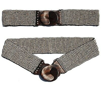 Hand-made Elastic Stretchy Beaded Belt Cream With Wooden Hook Buckle