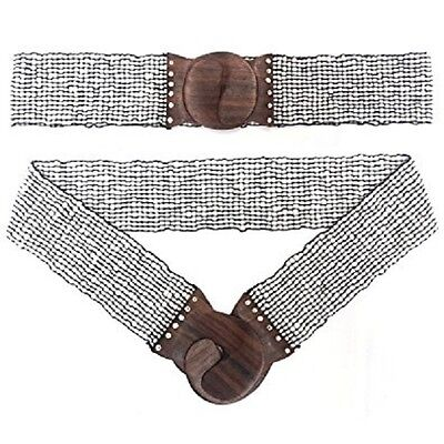 Hand-made Elastic Stretchy Beaded Belt White With Wooden Hook Buckle