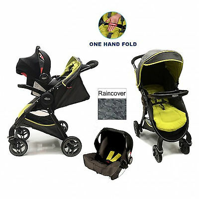 New Graco Fast Action Fold Travel System Baby Pram Pushchair Stroller Sport Lime