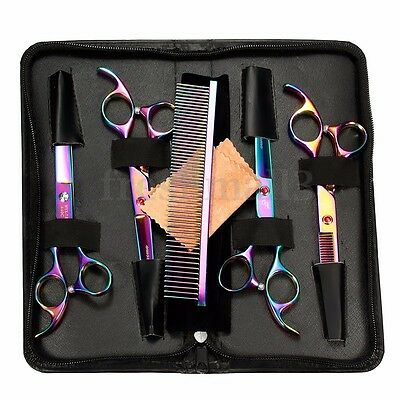 7'' Professional Pet Dog Cat Grooming Scissors Cutting Curved Thinning Shear Set
