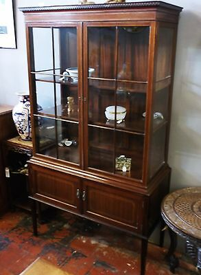Large Antique Display Cabinet, Inlaid Mahogany, Ideal For Shop, Edwardian.