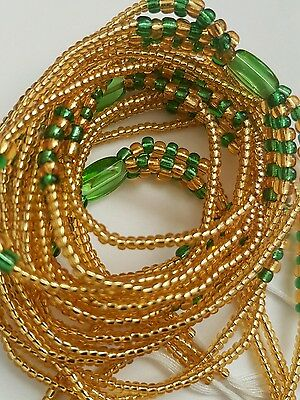 "African  Gold & Green Waist Beads, 3-in-1,  36""inches long New"