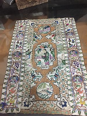 Antique Chinese Silk Rare Hand Embroidered Textiles