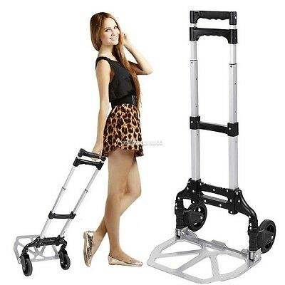 Aluminum Folding Hand Truck Dolly Luggage Carts,150 lbs Capacity Silver FV88