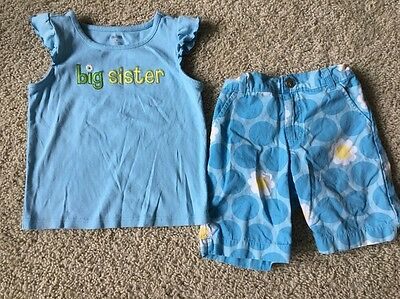 Gymboree Girls Size 6 Big Sister 2-pc Outfit Shirt Shorts Floral