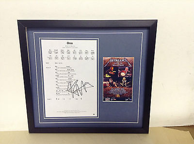 Metallica Genuine Hand Signed/Autographed Songsheet with a postcard & COA