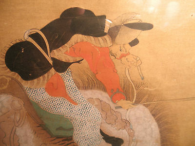 Old Chinese SCROLL Warrior on Horse , FRAMED
