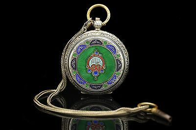 Antique Original Silver Green  Enamel Ottoman Islamic Pocket Watch