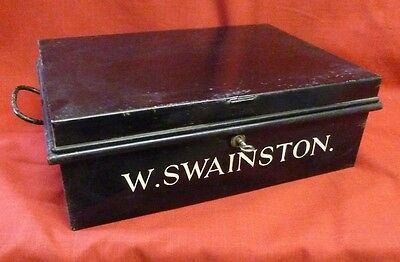 Antique Holmes & Son Deed Box with Lock & Key