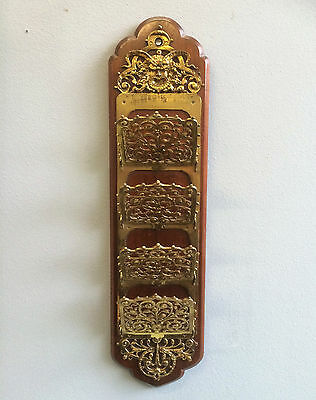 Rare Antique 'devil Mask' Letter Rack, Wall Mounted Brass On Mahogany, Victorian