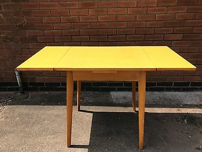 Vintage Retro Small Yellow Formica Drawer Leaf Extending Kitchen Dining Table