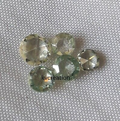 Lot 1.12 Ct 3.42-4.84 mm/SI1 Rose cut Off White + Green Loose Moissanite 5 pcs