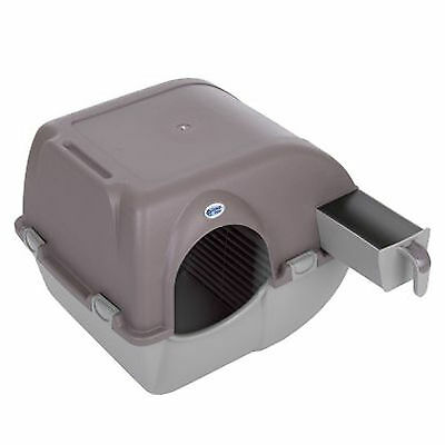 Cat Litter Box Self Cleaning No Scoop Omega Paw Roll'n'Clean Removable Tray Grey