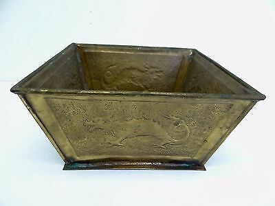 Vintage Used Brass Dragon Chinese Planter Plant Holder Pot Old Decorative Square