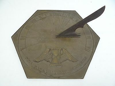 Antique Old Decorative Time Takes All But Memories Metal Bronze Garden Sundial