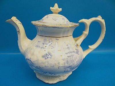 Antique Old Porcelain Two Temple Reverse Asian Japanese Transfer Ware Teapot