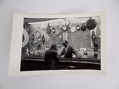 Vintage Mid-Century Modern Sunburst Clock Salesman Shop Black White Photograph