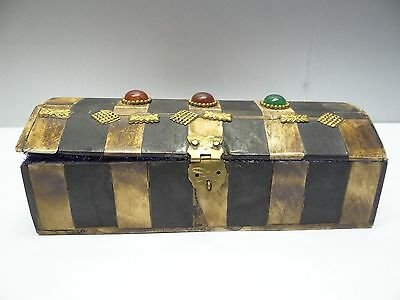 Vintage Used Old Brass & Glass Accent Ornate Decorative Jewelry Trinket Box