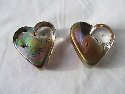 Lot of Two Iridescent Purple/Gold/Green Art Glass Hearts