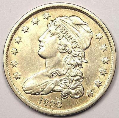 1838 Capped Bust Quarter 25C - AU Details - Rare Early Date Type Coin!