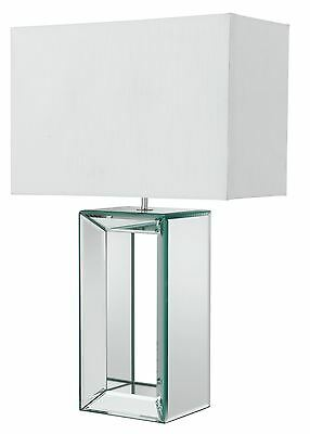 Mirror Reflection Table Lamp with White Shade - Searchlight 1610