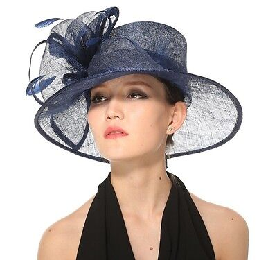 Church Kentucky Derby Carriage Tea Party Wedding Wide brim Sinamay Hat Navy
