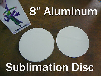 """8"""" Round Aluminum Sublimation Blank with 3/16"""" Hole for Mounting"""