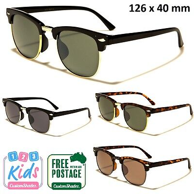 Kids / Children's Retro Sunglasses - Half Rimmed Frame / 7-12 Years Boys / Girls
