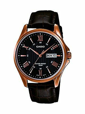 Casio #MTP1384L-1AV Men's Rose Tone Leather Band Day Date Roman Black Dial Watch